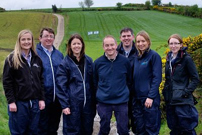 Joe Cush, centre, pictured at the GrassCheck Dairy Farm Walk on his farm at Pomeroy. Also included are from left: Jessica Pollock, AFBI PhD student; Jason Rankin, AgriSearch; Debbie McConnell, AFBI; Francis Lively, AFBI; Elizabeth Earle, AgriSearch and Ka
