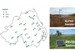 28 new NH3 monitoring locations in NI under the DAERA-funded AFBI project in collaboration with UKCEH, and ALPHA® and DELTA® NH3 sampling equipment used across the network.
