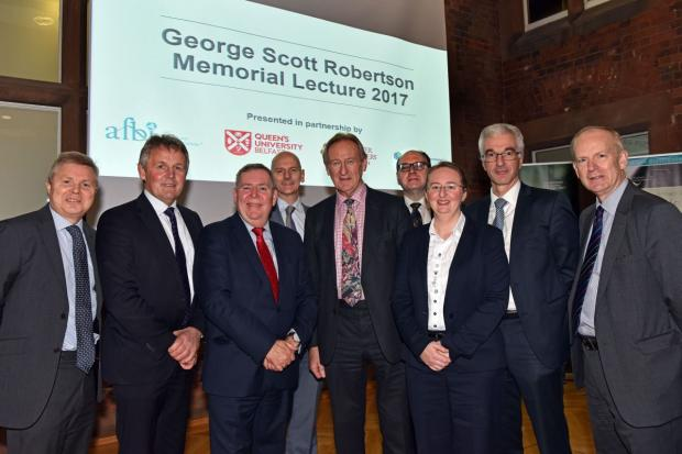 Members from the host organisations which includes AFBI, QUB, DAERA and UFU pictured with Lord Curry at this years lecture in the Riddel Hall, Belfast