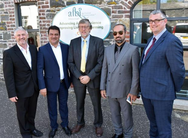 Iranian visitors to AFBI Hillsborough pictured with Professor Trevor Gilliland, AFBI (centre) and Dr Simon Doherty, Blackwater Consultancy, far right