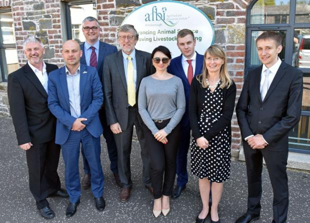 Visitors from Ukraine pictured with Professor Trevor Gilliland, AFBI and Dr Simon Doherty, Blackwater Consultancy at the recent visit to AFBI