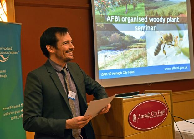 Dr Richard O'Hanlon (AFBI) welcoming attendees to the recent Woody Plant Seminar