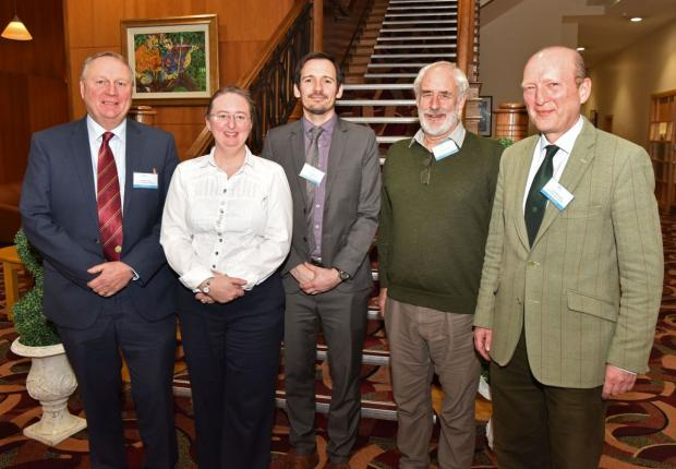 The organisers and chairs: Mr Hamilton Loney (NI Fruit Growers Assoc), Dr Elizabeth Magowan (Head of SAFSD, AFBI), Dr Richard O'Hanlon (AFBI), Mr Peter Archdale, Mr Stuart Morwood (Forest Service, DAERA)
