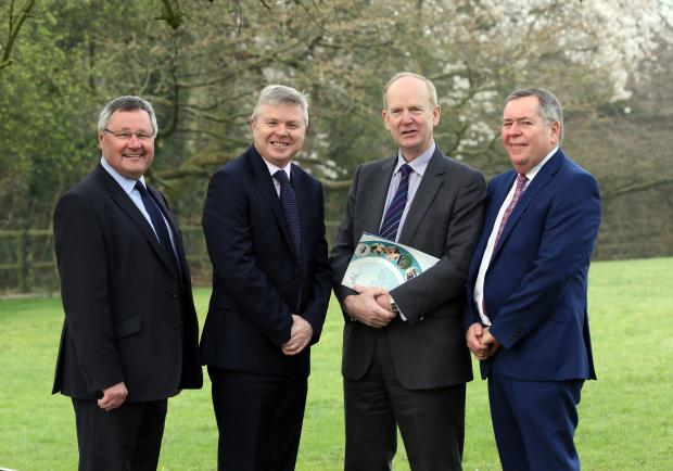 Pictured at the conference, from left are Tim Bennett Chairman CIEL, Noel Lavery Permanent Secretary DAERA, Dr Sinclair Mayne Chief Executive AFBI and Colm McKenna, Chair of AFBI board