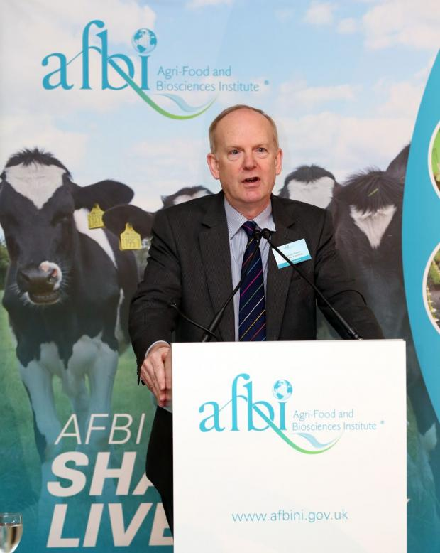 Pictured addressing the conference is Dr Sinclair Mayne Chief Executive AFBI