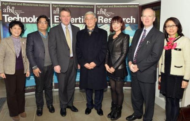 Ms An, Tong Tong; Prof. Zhang, Jianhua; Prof Seamus Kennedy, AFBI CEO; Prof. Wang, Liang; Mrs Zhou, Yu; Dr Sinclair Mayne, AFBI; Ms Shi, Peiyin