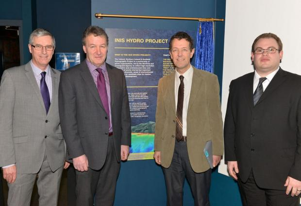 Walter Crozier (Head of AFBI Fisheries and Aquatic Ecosystems Branch), Seamus Kennedy (AFBI CEO), Laurence Mee (SAMS) and Andre Coccucio (MCA INIS Project Head).