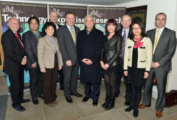 Mr Steven Millar, DARD; Prof. Zhang; Ms An, Tong Tong; Mr Peter Price, DARD; Prof Seamus Kennedy, AFBI CEO; Prof. Wang, Liang; Ms Zhou, Yu; Sinclair; Ms Shi, Peiyin; Mr Martin McKendry CAFRE