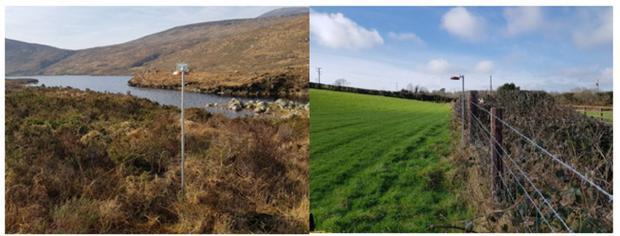 Figure. 2. ALPHA® samplers established at Bencrom (Mourne Mountains) (left) and near Crossgar (right).