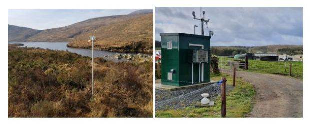 Fig. 3. Ammonia monitoring systems at Bencrom (Mourne Mountains) (left) and AFBI Hillsborough Research Farm (right)