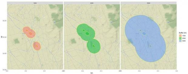 Figure 3. An example of circular buffers of 1, 2 and 5km applied around Main Valley Bogs SAC and within which the enhanced ammonia reduction measures were applied