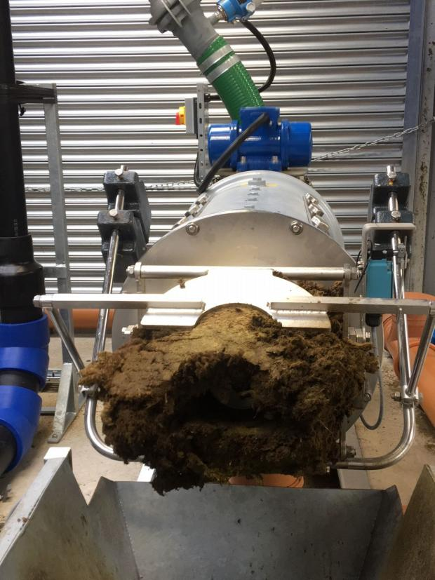 Screw Press separator separating anaerobic digestate in to solid and liquid fractions