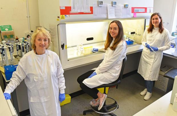 Dr Louise Cosby, Head of Virology Branch, AFBI VSD pictured with Dr Rachel Bell and Dr Hannah Turkington