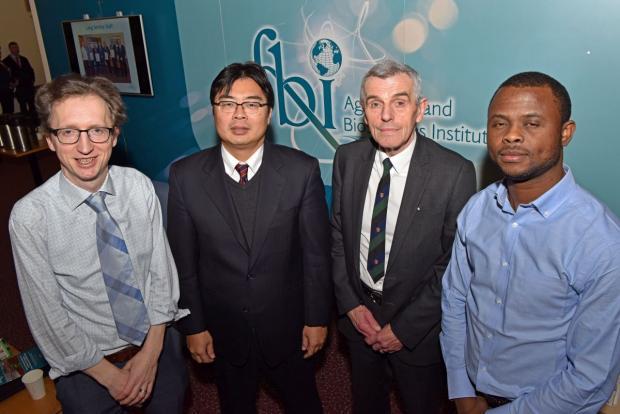 Pictured L-R, Dr Myles Patton (AFBI), Dr Shingo Kimura (OECD), Professor John Davis (AFBI) and Dr Kehinde Olagunju (AFBI)