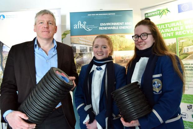 Mr Chris Johnston (AFBI) with Hannah Canning and Niamh Campbell (Rathmore)