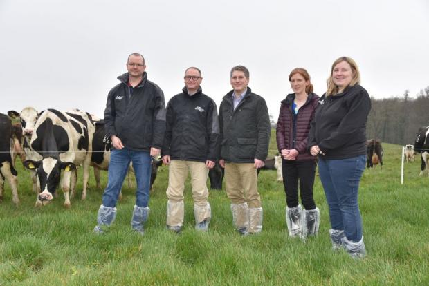 AFBI Scientists Drs Terence Fodey, Gary Lyons, David McCleery, Suzanne Higgins and Gillian Young (left to right) will be highlighting the latest research findings from AFBI at the Dairy Innovation Open Day, Hillsborough on 6 June