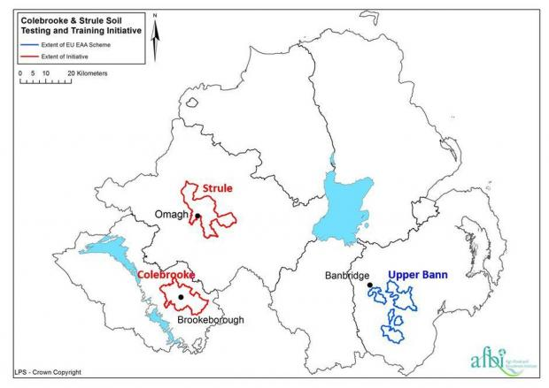 Fig 1:Map showing locations of sub-catchments in Colebrooke and Strule targeted for soil sampling in this year's soil testing and training initiative. Sub-catchments in Upper Bann, sampled in 2017-18 in the EAA Soil Sampling and Analysis Scheme also shown