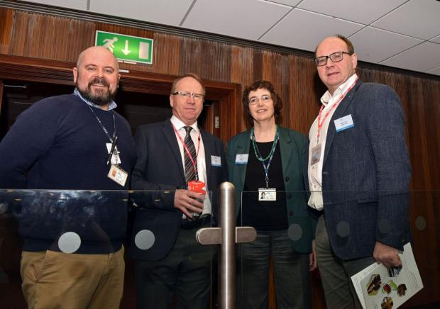 Linda Farmer, organiser (AFBI) with David Farrell (AFBI), Aidan Moloney (Teagasc), and Nigel Scollan (QUB) at the All-Ireland Meat Science Conference.