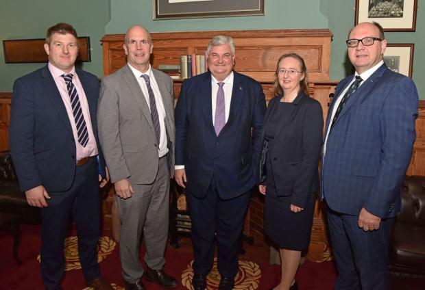 Representatives from hosts of the lecture - James McCluggage (UFU), Alistair Carson (DAERA), Lord Price, Elizabeth Magowan (AFBI) and Nigel Scollan (IGFS, QUB)