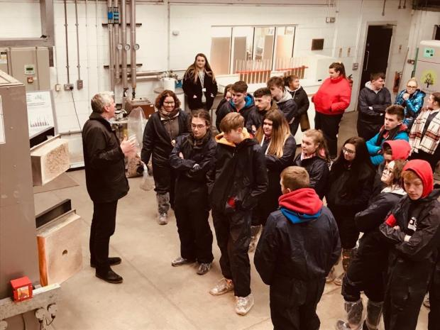Chris Johnston (AFBI) showcases to the students some of the innovative research into the bio circular economy and the mitigation and measurement of greenhouse gases.
