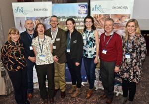 Some of the speakers with AFBI staff at the Royal Entomological Society / Buglife meeting L-R, Carol Hall, Sam Clawson, Catherine Bertrand, Archie Murchie, Úna Fitzpatrick, Anna Hart, Stephen Jess, Joanna Kirbas