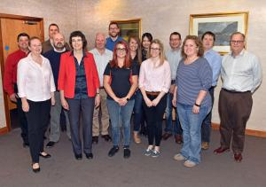 The AFBI team including Front Row (L-R) Dr Elizabeth Magowan (AFBI DCEO) and Dr Linda Farmer (Head of Food Research Branch) with visitors from Australia, Texas Tech University and a major Australian Beef Processor who recently met at AFBI Newforge