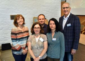 Speakers and chair at the Poultry Seminar. L to R: Claire Anderson, Elizabeth Ball, Nicolae Corcionivoschi, Stephanie Buijs, Martin Zuidhof