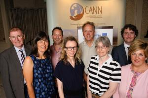 L-R: John Bailey, Mel Flexen, Colin Jennings, Yvonne McElarney, Robert Rosell, Allison Nelson, (all AFBI), Andrew King (SEUPB), and Martina Flynn (CANN Project Manager, Newry, Mourne & Down District Council).