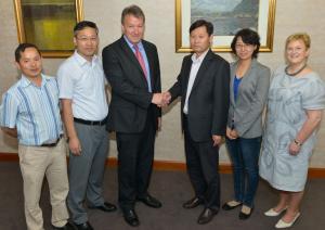 L-R, Dr Tianhai Yan(AFBI), Prof Chuncheng XU (CAU), Prof Seamus Kennedy (AFBI), Prof Fuyu Yang (CAU), Dr Yunwei Zhang (CAU) and Prof Margaret Patterson (AFBI)