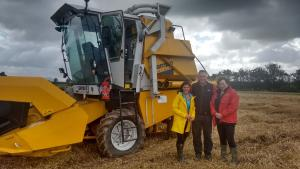 Filming the AHDB winter wheat variety trial harvest, Limavady, for BBC NI Home Ground.  L-R Jo Scott (BBC NI), Richard Kane (Cereal grower) and Dr Lisa Black (AFBI).