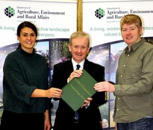Kerry McIlwaine and Jonathan Blair pictured with DAERA Permanent Secretary Dr Denis McMahon at the launch of the DAERA 2019 PG Studentship Competition