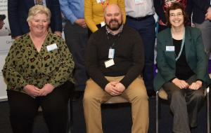 Pictured (L-R) Joan Tollerton, Dave Farrell and Linda Farmer (AFBI)