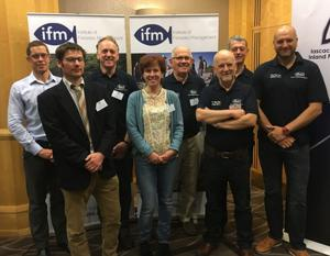 Organising committee (L-R) Paul Coulson (IFM) Art Niven (Loughs Agency) Robert Rosell (AFBI) Karen Delanty (IFI) Gerald Crawford (Retired  CEO, Foyle Fisheries Commission), Paul Johnston (Ireland Branch IFM) Greg Forde (IFI) and Iain Turner (IFM)