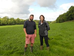 Host farmer Ian McClelland with Dr Debbie McConnell from AFBI discussing plans for the Dairy Innovation in Practice farm walks taking place on 12 -14 September