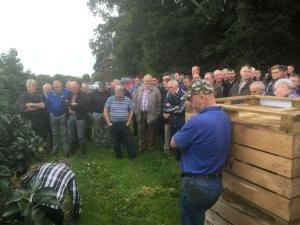 Demonstration of fungicide application system to NI Fruit Growers at the recent orchard walk held at AFBI Loughgall.