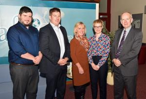 (Pictured L-R) The Organising Committee of the 2017 George Scott Robertson Memorial Lecture, Chris Armour (AFBI), James McCluggage (UFU), Joyce Waterson (QUB), Lisa-Jane McIlveen (DAERA) and Sinclair Mayne (AFBI CEO).