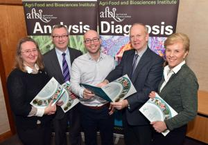 Dr Andrew Byrne (centre), a keynote speakers at AFBI's Science Outlook Conference which takes place on 13 March, is pictured with members of the Organising Committee (from l-r) Elizabeth Magowan, Stanley McDowell, Sinclair Mayne and Josephine Kelly